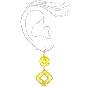 Pendantes géométriques filetées 6,5cm couleur dorée - Jaune,