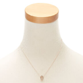 Rose Gold Cursive Initial Pendant Necklace - O,