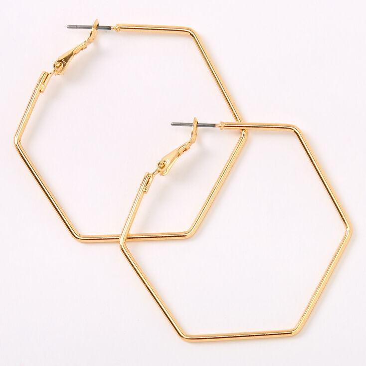 Gold 40MM Hexagon Hoop Earrings,