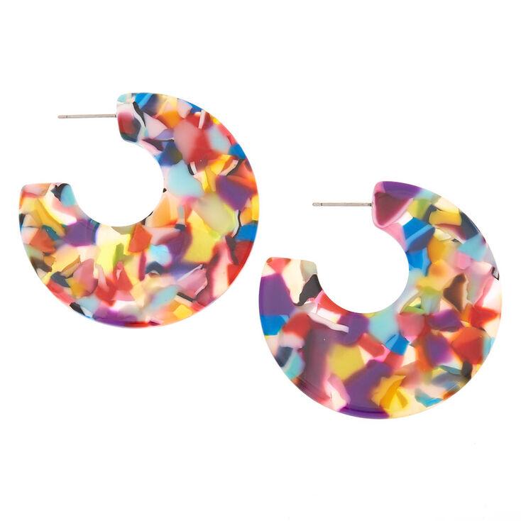 45MM Rainbow Resin Half Hoop Earrings,