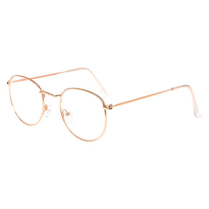 Rose Gold Round Clear Lens Frames,