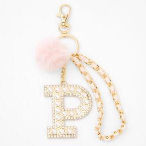 Gold Bling Initial Pom Pom Keyring - Pink, P,