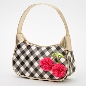 Claire's Club Gingham Floral Hobo Bag - Black and White,