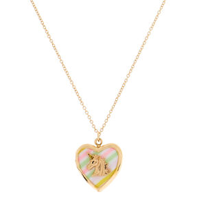 Gold Unicorn Locket Pendant Necklace - Rainbow,