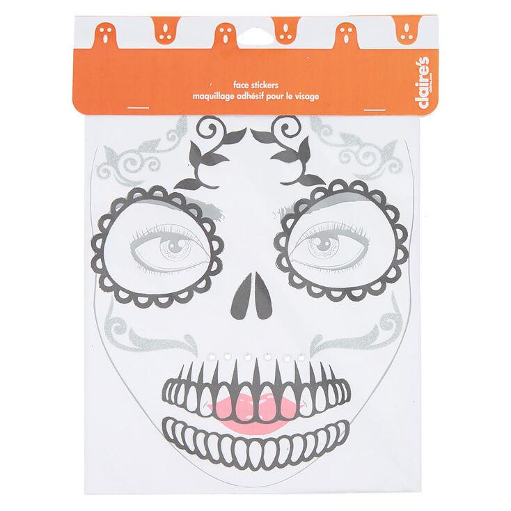 Skeleton Glitter Face Stickers - Black,