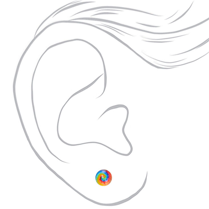 Rainbow Tie Dye Stud Earrings,