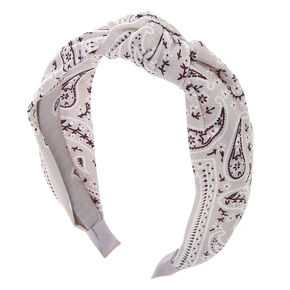 Bandana Knotted Headband - Light Grey,