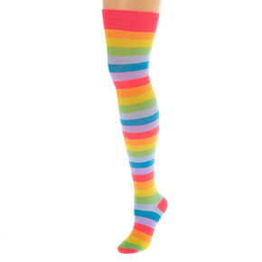 Neon Stripe Over the Knee Socks,