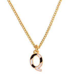 Gold Striped Initial Pendant Necklace - Q,