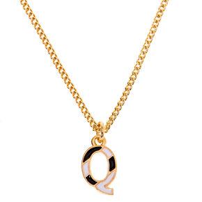 Collier à pendentif initiale à rayures couleur dorée - Q,