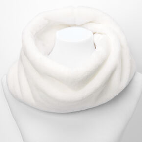 Faux Fur Infinity Scarf - White,