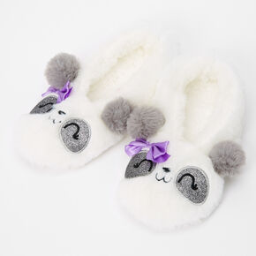 Furry Panda Slippers - S/M,