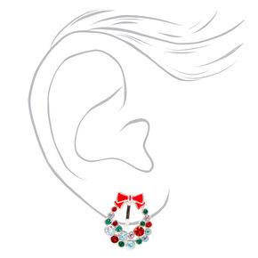 Crystal Wreath Christmas Clip on Earrings,