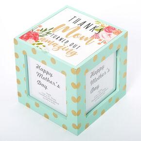 Thanks Mom Floral Polka Dot Photo Cube - Mint,