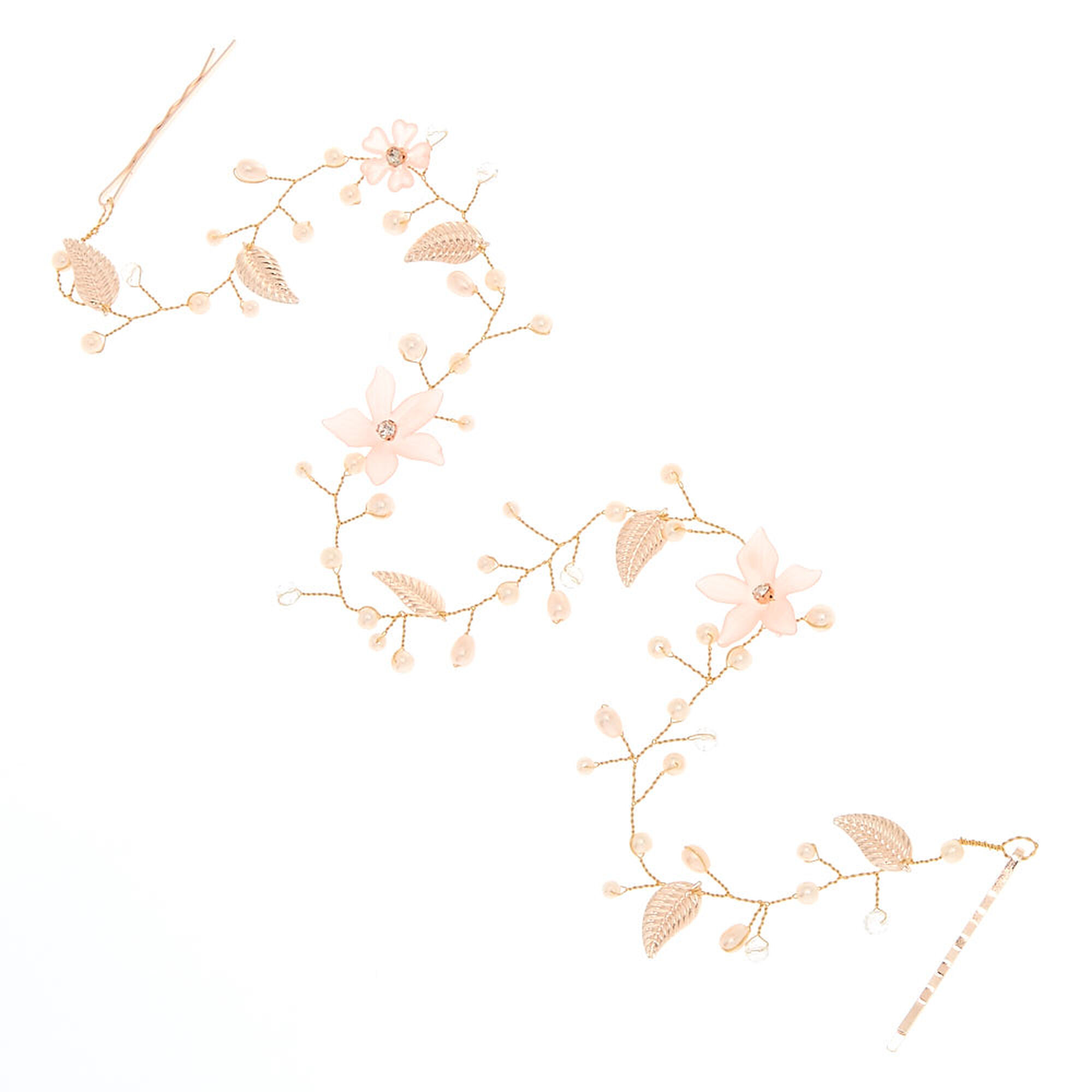 Long Rose Gold Tone Pink Flower Hair Vine Claires