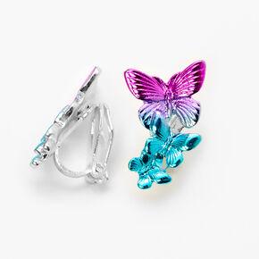Ombre Butterfly Clip-On Stud Earrings,