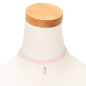Unicorn Tattoo Choker Necklace - Pink,