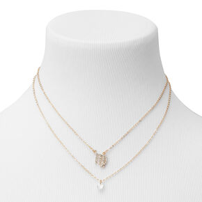 Gold Cubic Zirconia Zodiac Multi Strand Necklace - Virgo,