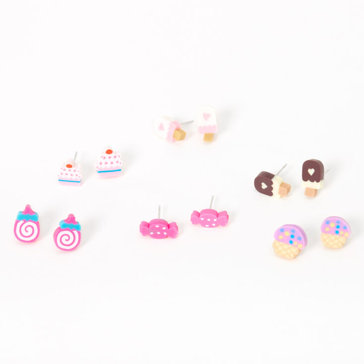 Mixed Sweets Stud Earrings - Pink, 6 Pack,