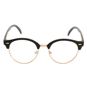 Rose Gold Browline Clear Lens Frames - Black,