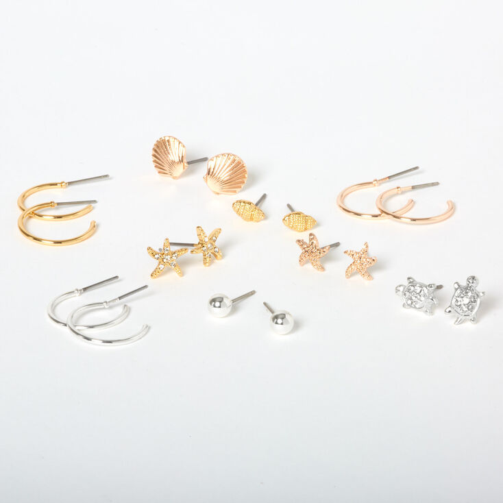Mixed Metal Under the Sea Mixed Earrings - 9 Pack,