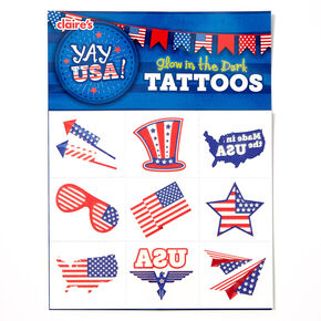 YAY USA! Glow In The Dark Temporary Tattoo Set - 18 Pack,