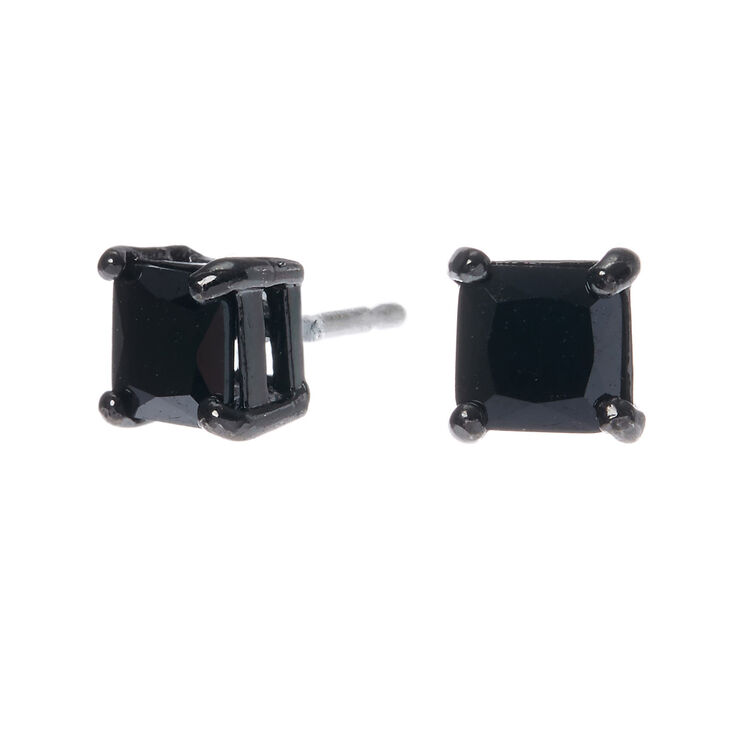 80cb38a67 Hematite Cubic Zirconia 5MM Square Stud Earrings - Black | Claire's US