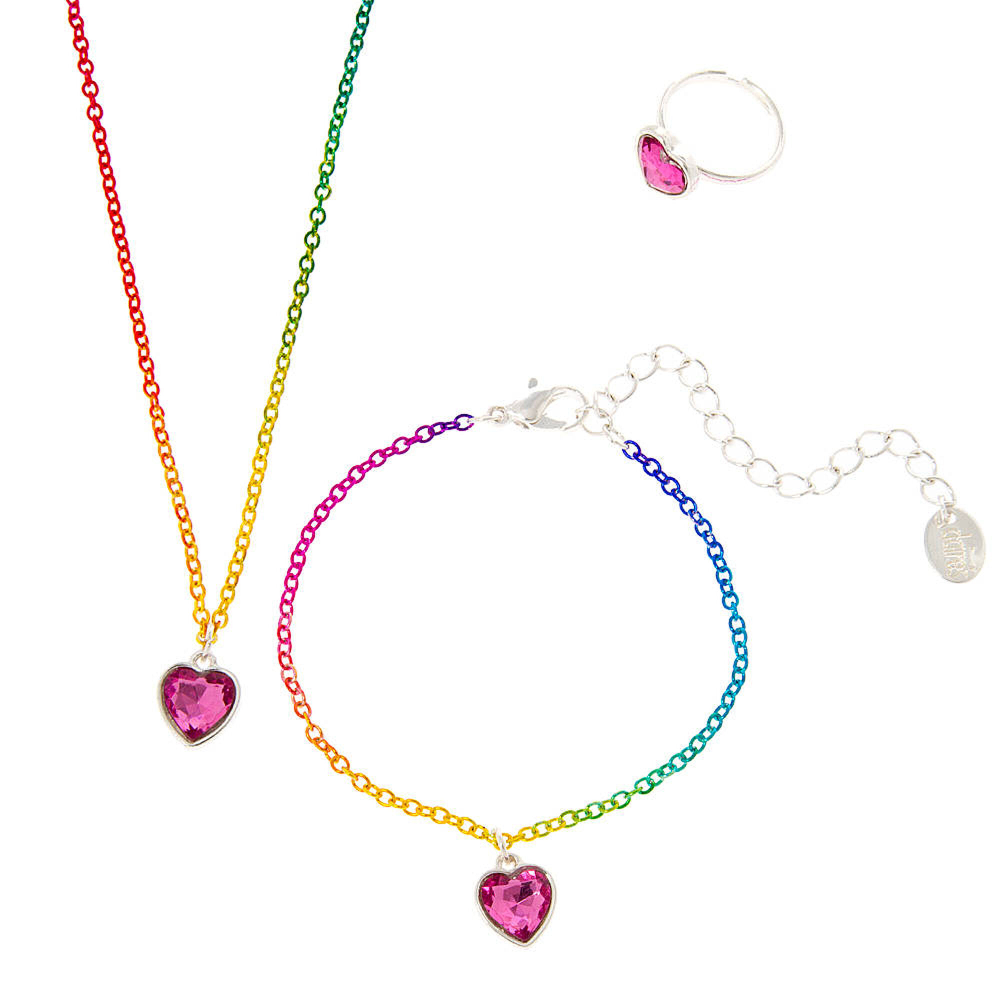Kids pink crystal heart pendant necklace bracelet and ring set kids pink crystal heart pendant necklace bracelet and ring set aloadofball Image collections