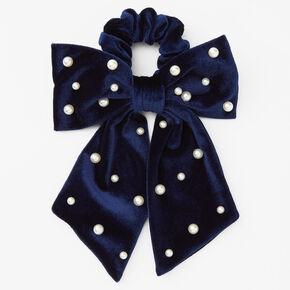Chouchou à nœud incrusté de perles d'imitation - Bleu marine,