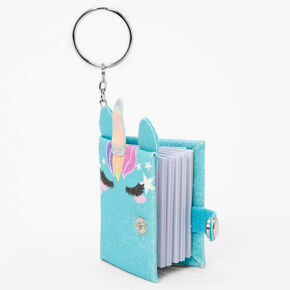 Glitter Unicorn Mini Diary Keyring - Aqua,