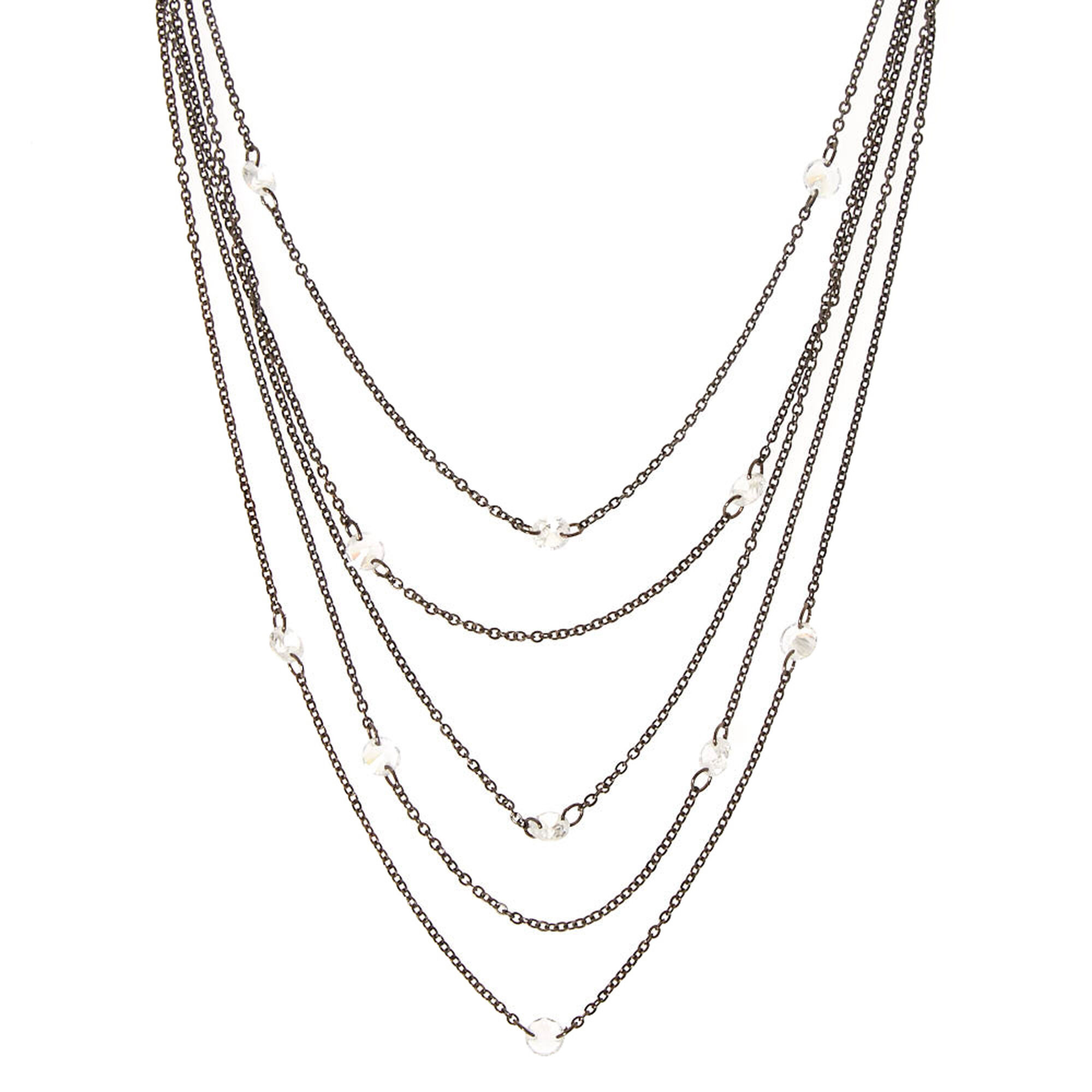 metal hematite mixed row rhodium necklace res rickis multi hi