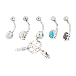 Silver 14G Boho Dreamcatcher Belly Rings - Turquoise, 5 Pack,