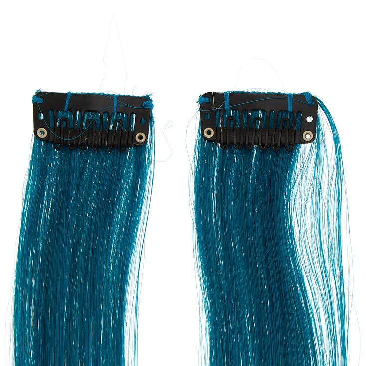 Extensions de cheveux synthétiques avec dégradé de couleurs à clip - Bleu, lot de 2,