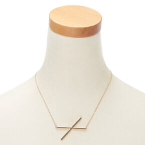 Oversized Initial Pendant Necklace - X,