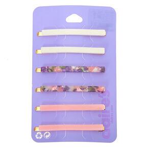 Pretty Pink Tortoiseshell Hair Pins - 6 Pack,