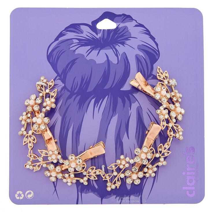 Ornement pour cheveux floral en perle d'imitation en fausses pierres en strass au ton couleur doré rose,