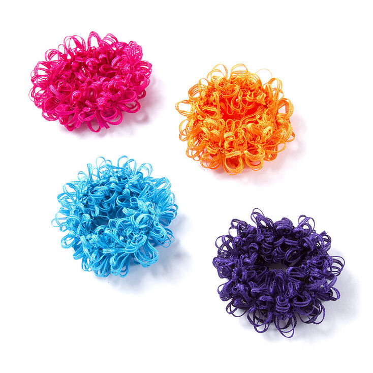 Small Bright Looped Hair Scrunchies - 4 Pack,