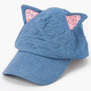 Claire's Club Denim Cat Ear Baseball Cap - Pink,