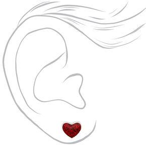 Glitter Heart Stud Earrings - Red,