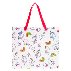 Medium Miss Glitter the Unicorn Gift Bag - White,