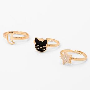 Rose Gold Celestial Cat Adjustable Rings - 3 Pack,
