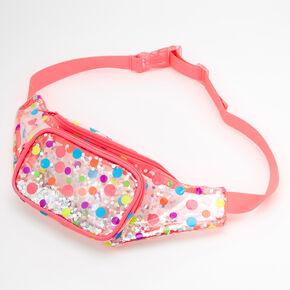 Polka Dot Shakey Glitter Bum Bag - Coral,