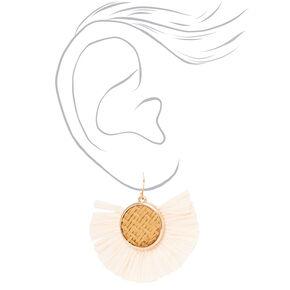 """Gold 1.5"""" Wooden Raffia Drop Earrings - Blush Pink,"""