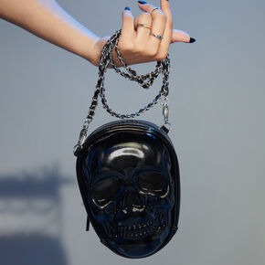 Skull Chain Crossbody Bag - Black,