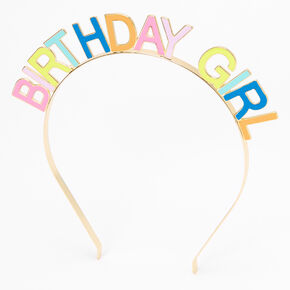 Birthday Girl Rainbow Headband - Gold,