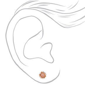 Rose Gold Crystal Stud Earrings - 9 Pack,