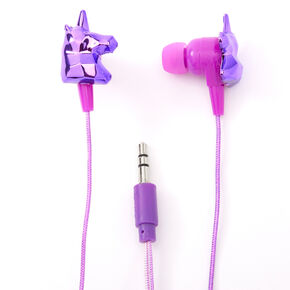 Metallic Unicorn Earbuds with Mic - Purple,
