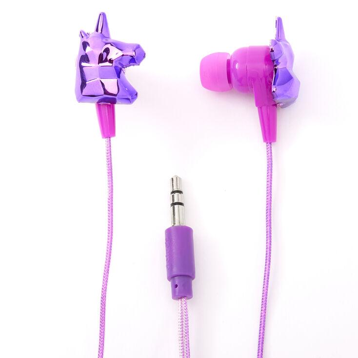 Metallic Unicorn Earbuds with Mic - Purple,