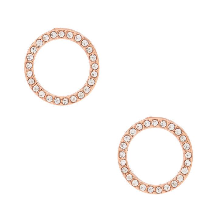Rose Gold Tone Open Circle Earrings
