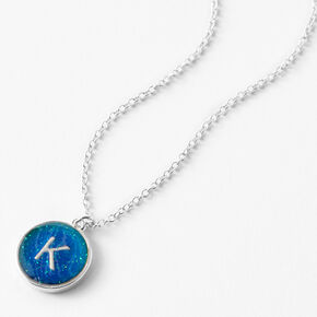 Silver Initial Mood Pendant Necklace - K,